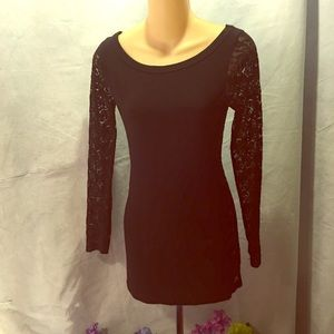 Lace-back long sleeve shirt